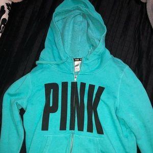 aqua blue victoria's secret pink hoodie